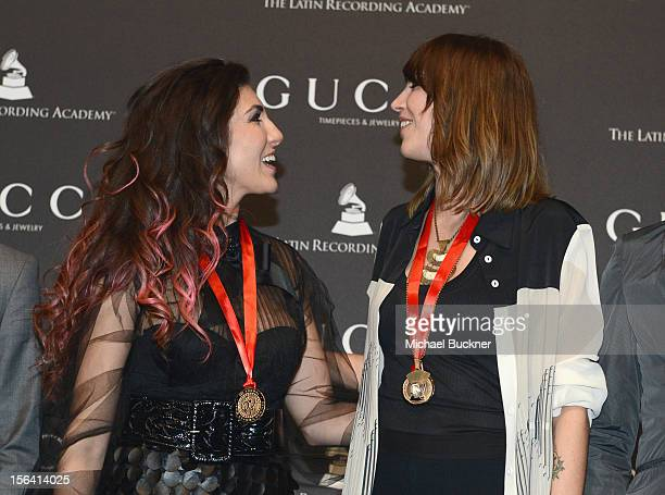 Singers Ana Victoria and Deborah de Corral during the 2012 Person of the Year honoring Caetano Veloso at the MGM Grand Garden Arena on November 14...