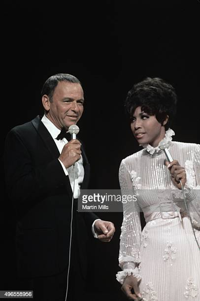 Singers and actors Frank Sinatra and Diahann Carroll perform on the television special 'Francis Albert Sinatra Does His Thing' on August 15 in Los...