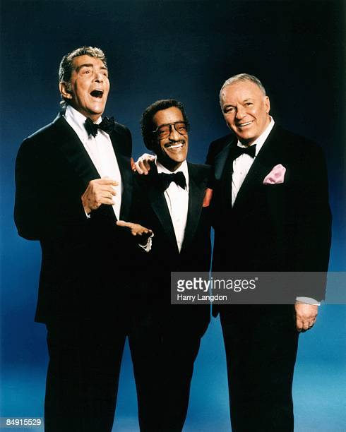 Singers and actors Frank Sinatra Dean Martin and Sammy Davis Jr pose for a portrait circa 1988 in Los Angeles California