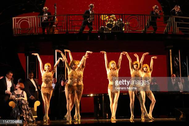 Singers and dancers perform in Los Angeles Opera's production of Verdi's La Traviata at the Dorothy Chandler Pavilion in Los Angeles on May 30 2019...