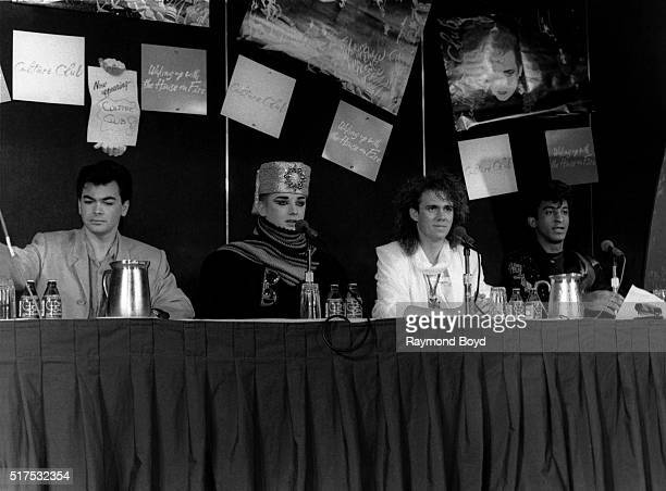 Singers and musicians Jon Moss Boy George Roy Hay and Mikey Craig from Culture Club attends a press conference after their performance at the...