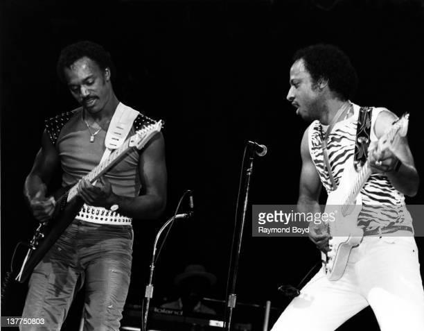 Michael Cooper and Felton Pilate of funk group ConFunkShun performs at the Holiday Star Theater in Merrillville Indiana in 1984