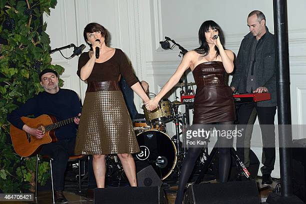 Singers and musicians of 'Nouvelle Vague' band perform during the Didit show as part of Paris Fashion Week Haute Couture Spring/Summer 2014 At Hotel...