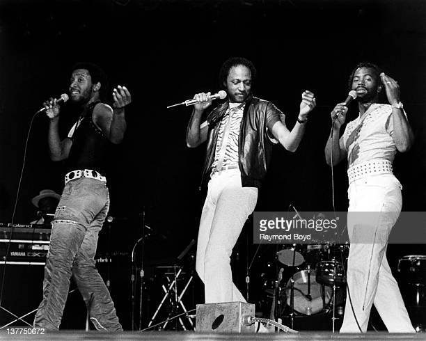 Paul Harrell Felton Pilate and Karl Fuller of the funk group ConFunkShun performs at the Holiday Star Theater in Merrillville Indiana in 1984