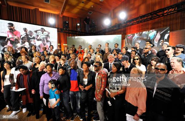 HOLLYWOOD FEBRUARY 01 Singers and producers of We Are The World 25 Years for Haiti pose for a group picture following the recording session held at...