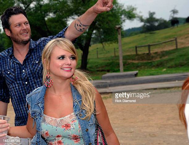 Singers and Songwriters Blake Shelton and Miranda Lambert at their Barn Party Bonfire Celebration of two's OVER YOU DRINK ON IT hosted by Miranda...