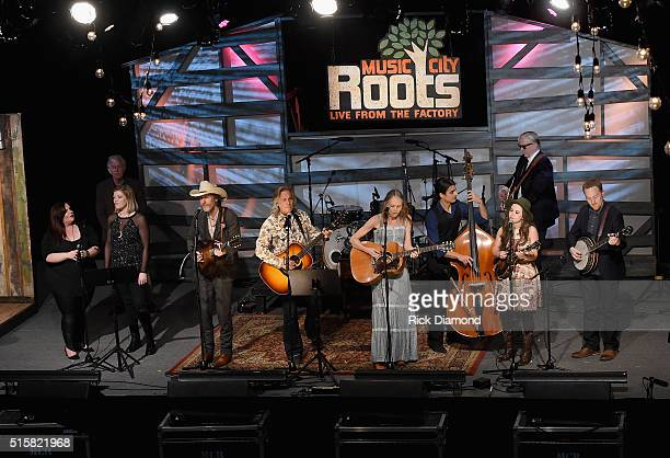 Singers and Songwriters Maureen Murphy Liz Longley Dave Rawlings Jim Lauderdale Gillian Welch Sierra Hull and T Bone Burnett perform during a special...