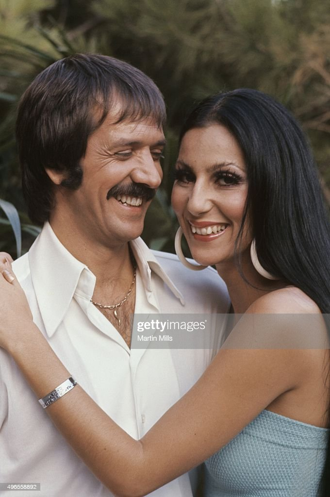 Singers and TV stars Sonny and Cher pose for a portrait at home in Beverly Hills, California.