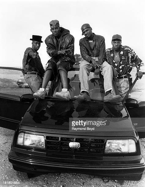 R Kelly And Public Announcement pose for photos on location in Chicago Illinois in JANUARY 1991