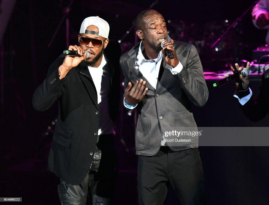 Singers Andre Dalyrimple and Chris Dalyrimple of the R&B group Soul for Real perform onstage at Microsoft Theater on January 13, 2018 in Los Angeles, California.