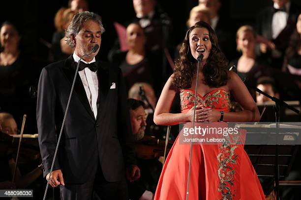 Singers Andrea Bocelli and Carly Paoli perform at the Celebrity Fight Night gala at Palazzo Vecchio during 2015 Celebrity Fight Night Italy...