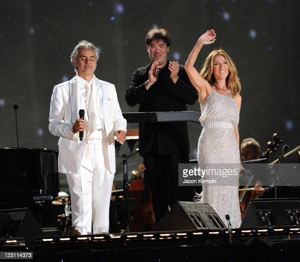 Singers Andrea Bocelli and Celine Dion perform at Central Park Great Lawn on September 15 2011 in New York City