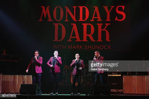 Singers Andrew Tierney, Phil Burton, Michael Tierney and Toby Allen of the Australian vocal group Human Nature perform during the Mondays Dark 2nd...
