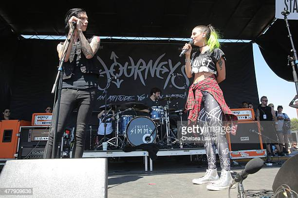 Singers Andy Biersack of Black Veil Brides and Juliet Simms perform during the Vans Warped Tour at Fairplex on June 19 2015 in Pomona California