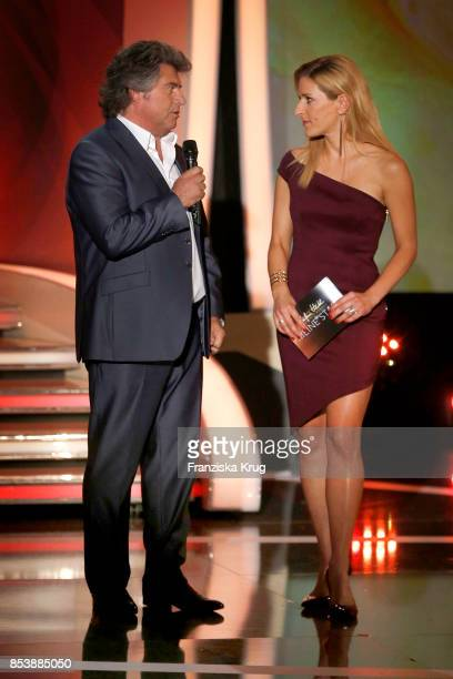 Singers Andy Borg and Stefanie Hertel during the TV Show 'Stefanie Hertel - Meine Stars' on September 25, 2017 in Zwickau, Germany.