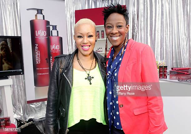 Singers Angel Taylor and Le'Andria Johnson attend GRAMMY Gift Lounge during The 54th Annual GRAMMY Awards at Staples Center on February 11 2012 in...