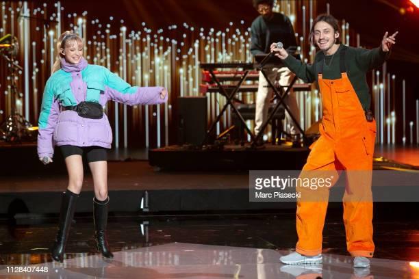 Singers Angele Van Laeken aka Angele and her brother Romeo Elvis Van Laeken perform during the 34th Victoires de la Musique at La Seine Musicale on...