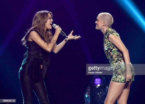 Singers Angie Miller and Jessie J perform onstage during Fox's American Idol 2013 Finale Results Show at Nokia Theatre LA Live on May 16 2013 in Los...