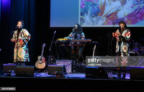 Singers Anita Bias Paris Strother Amber Strother of the band King perform the annual GRAMMY In The Schools Live – A Celebration of Music Education...