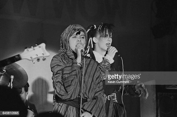 Singers Annabella Lwin and Boy George performing with English new wave group Bow Wow Wow Manchester University 14th March 1981 George performed two...