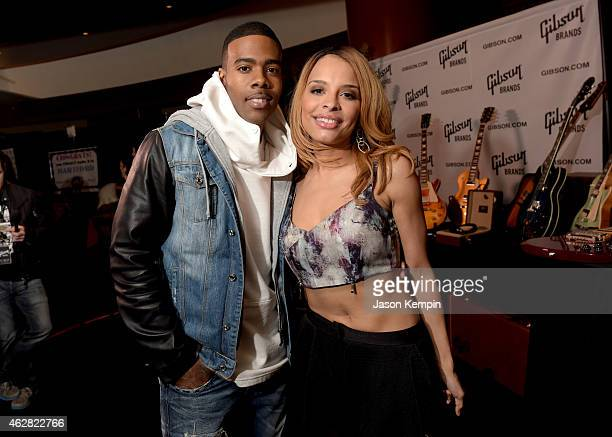 Singers Antonique Smith and Mario pose backstage at The GRAMMYs Westwood One Radio Remotes during The 57th Annual GRAMMY Awards at Staples Center on...