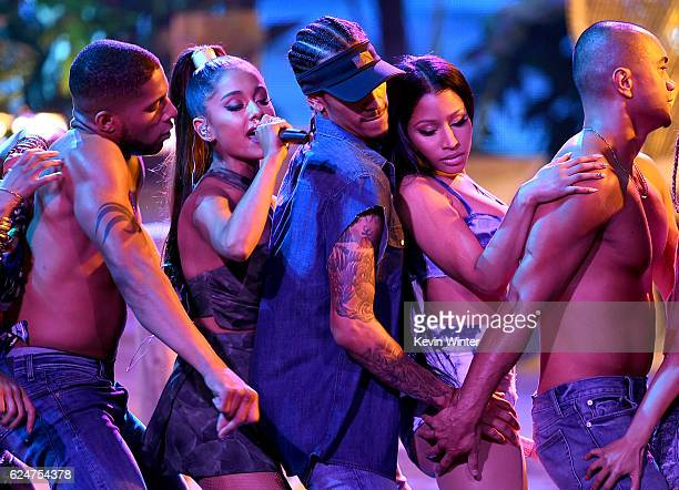 Singers Ariana Grande and Nicki Minaj perform onstage during the 2016 American Music Awards at Microsoft Theater on November 20 2016 in Los Angeles...