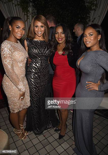 Singers Ashanti and Deborah Cox and Kenashia Douglas and Tina Douglas attend the Primary Wave 9th Annual PreGrammy Party at RivaBella on February 7...