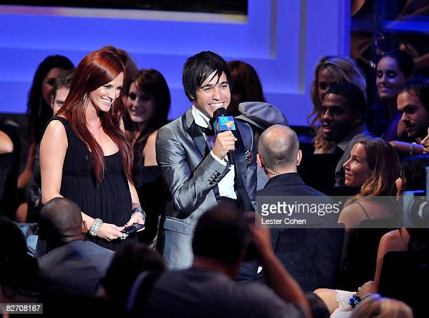 Singers Ashlee Simpson and Pete Wentz on stage at the 2008 MTV Video Music Awards at Paramount Pictures Studios on September 7 2008 in Los Angeles...