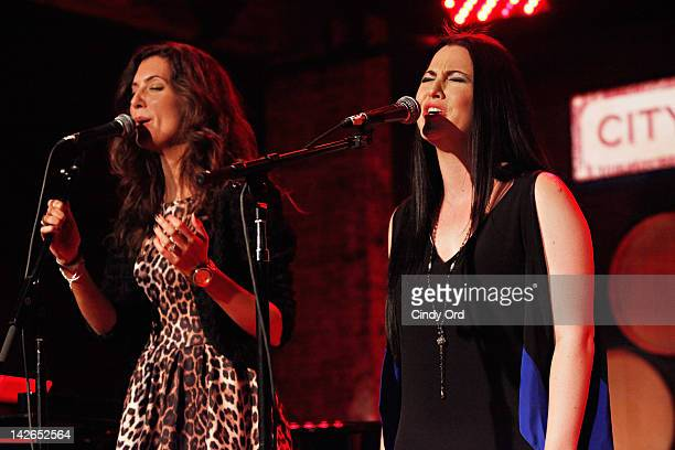 Singers Ashley Arrison and Amy Lee perform at the Restore Freedom Gala 2012 at City Winery on April 10 2012 in New York City