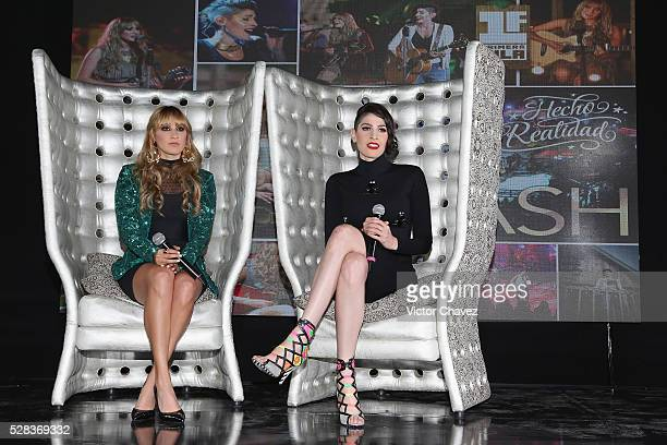 Singers Ashley Grace Perez and Hanna Nicole of Ha-Ash attend a press conference at Hotel Camino Real Polanco on May 4, 2016 in Mexico City, Mexico.