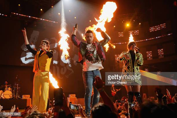 Axel Escalante and cast memebers of Noobees speak on stage during the Nickelodeon Kids' Choice Awards Mexico 2018 at Auditorio Nacional on August 19...