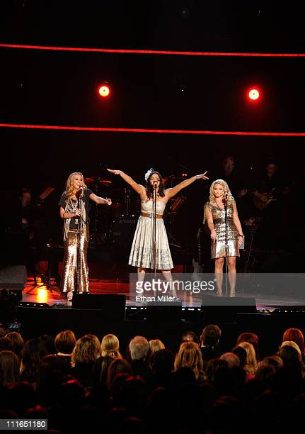 Singers Ashley Monroe Angaleena Presley and Miranda Lambert of the band Pistol Annies perform onstage during ACM Presents Girls' Night Out Superstar...