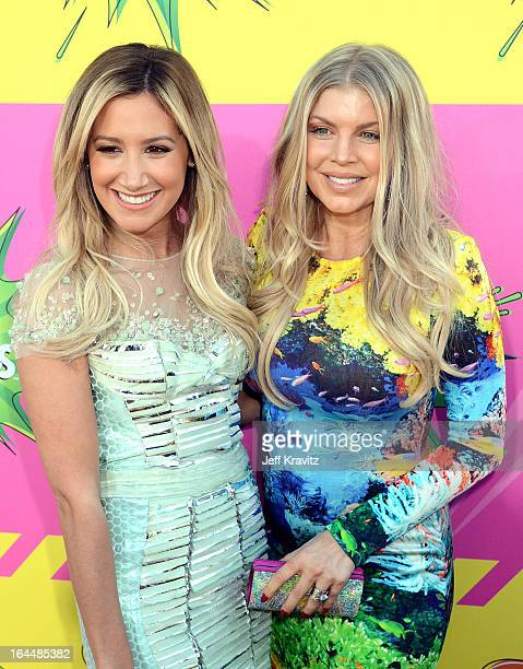 Singers Ashley Tisdale and Fergie arrive at Nickelodeon's 26th Annual Kids' Choice Awards at USC Galen Center on March 23 2013 in Los Angeles...