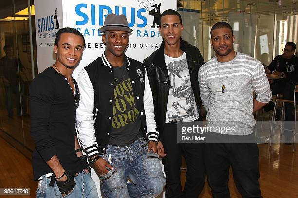 Singers Aston Merrygold Oritsé Williams Marvin Humes and Jonathan JB Gill of JLS visit the SIRIUS XM Studio on April 22 2010 in New York City