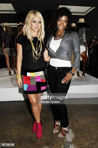 Singers Aubrey O'Day and D Woods of the musical group Danity Kane attend the Tory Burch Presentation Spring 2009 at Matthew Marks Gallery September 9...