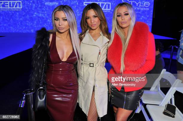 """Singers Aubrey O'Day, Jessi Malay and a guest attend the debut of Thomas Wylde's """"Warrior II"""" collection at Pacific Design Center on March 12, 2017..."""