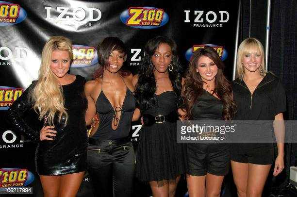 Singers Aubrey O'Day Wanita D Woods Dawn Richard Aundrea Fimbres and Shannon Bex visit the Z100 Zootopia press room at the Izod Center in East...