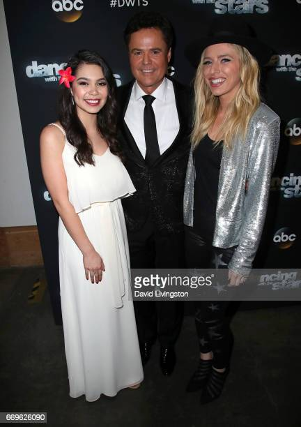 Singers Auli'i Cravalho Donny Osmond and ZZ Ward attend 'Dancing with the Stars' Season 24 at CBS Televison City on April 17 2017 in Los Angeles...
