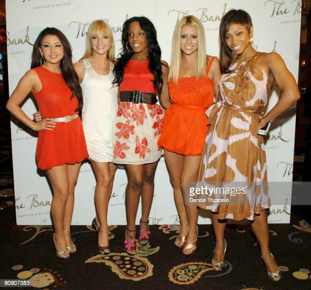 Singers Aundrea Fimbres, Shannon Bex, Dawn Richard, Aubrey O'Day and D. Woods of Danity Kane arrive at their official album release party at The Bank...