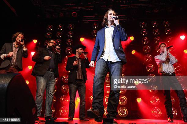 Singers Austin Brown Rob Lundquist Chris Rupp Tim Foust and Adam Rupp of Home Free perform at The SingOff Live Tour at House of Blues Sunset Strip on...