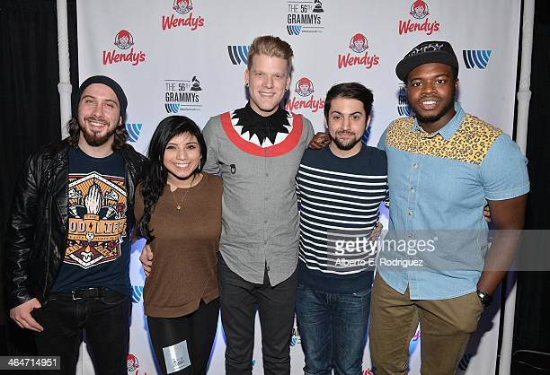 Singers Avi Kaplan Kirstie Maldonado Scott Hoying Mitch Grassi and Kevin Olusola pose backstage at the GRAMMYs Westwood One Radio Remotes during the...