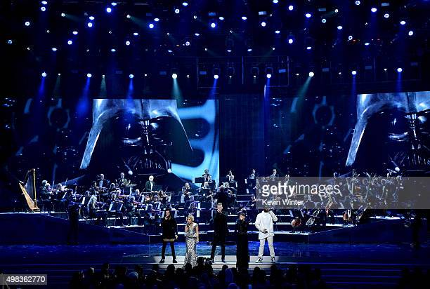 Singers Avi Kaplan Kirstie Maldonado Scott Hoying Mitch Grassi and Kevin Olusola of Pentatonix perform onstage during the 2015 American Music Awards...
