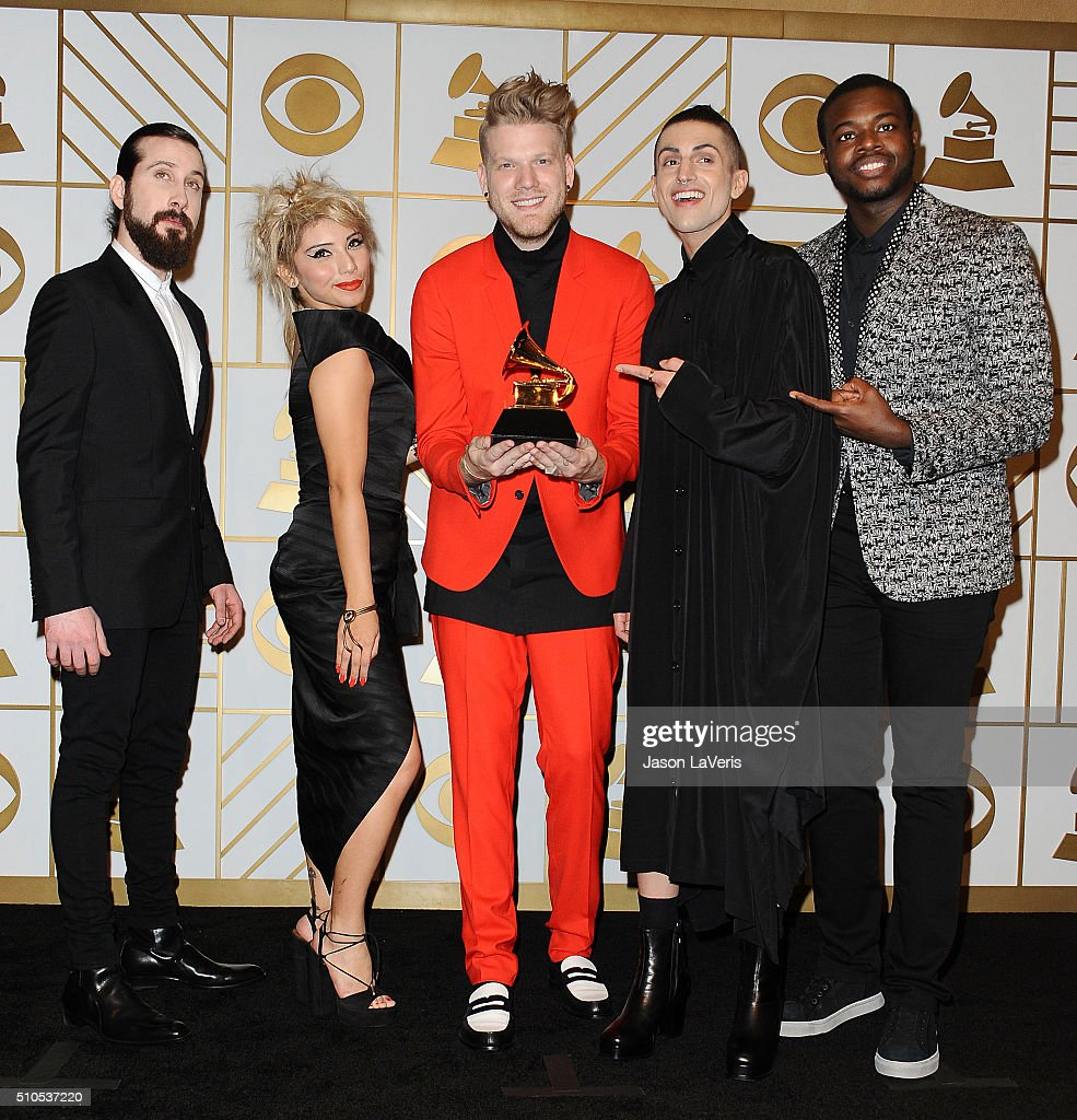 Singers Avi Kaplan, Kirstie Maldonado, Scott Hoying, Mitch Grassi, and Kevin Olusola of Pentatonix pose in the press room at the The 58th GRAMMY Awards at Staples Center on February 15, 2016 in Los Angeles, California.