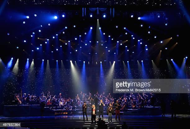 Singers Avi Kaplan Kirstin Maldonado Scott Hoying Mitch Grassi and Kevin Olusola of musical group Pentatonix perform onstage during day 1 of the 2015...