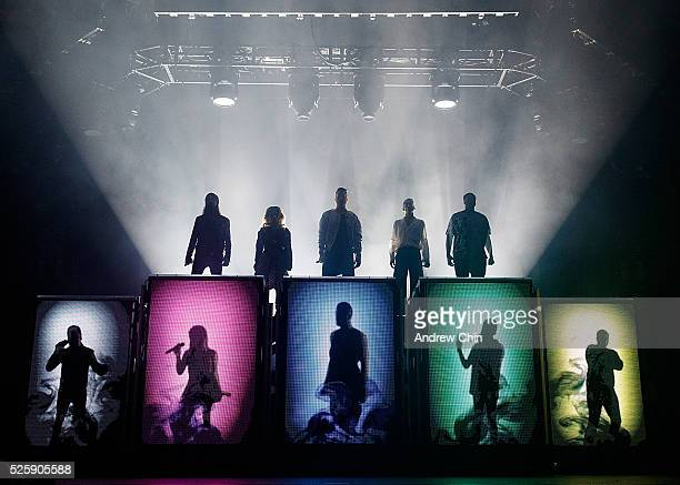 Singers Avi Kaplan Kirstin Maldonado Scott Hoying Mitchell Grassi and Kevin Olusola of Pentatonix perform onstage at Pacific Coliseum on April 28...