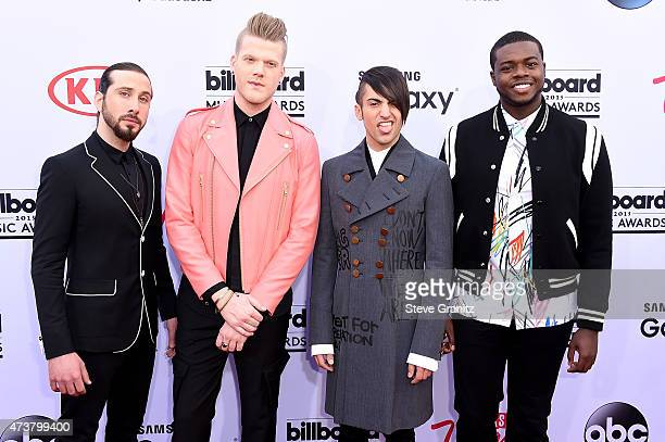 Singers Avi Kaplan Scott Hoying Mitch Grassi and Kevin Olusola of Pentatonix attend the 2015 Billboard Music Awards at MGM Grand Garden Arena on May...