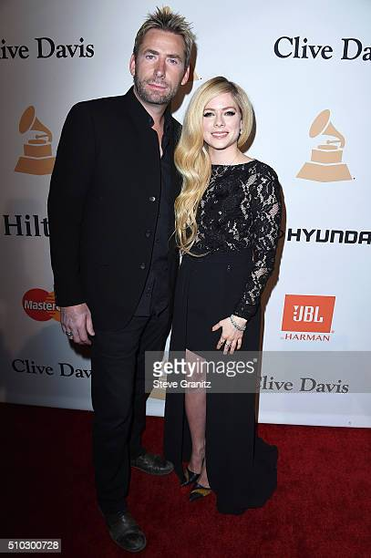Singers Avril Lavigne and Chad Kroeger attend the 2016 PreGRAMMY Gala and Salute to Industry Icons honoring Irving Azoff at The Beverly Hilton Hotel...