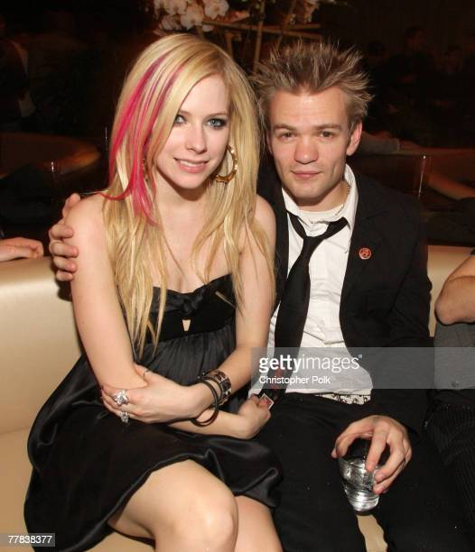 Singers Avril Lavigne and Deryck Whibley attend the grand opening of KOI Las Vegas at The Planet Hollywood Resort Casino on November 09 2007 in Las...