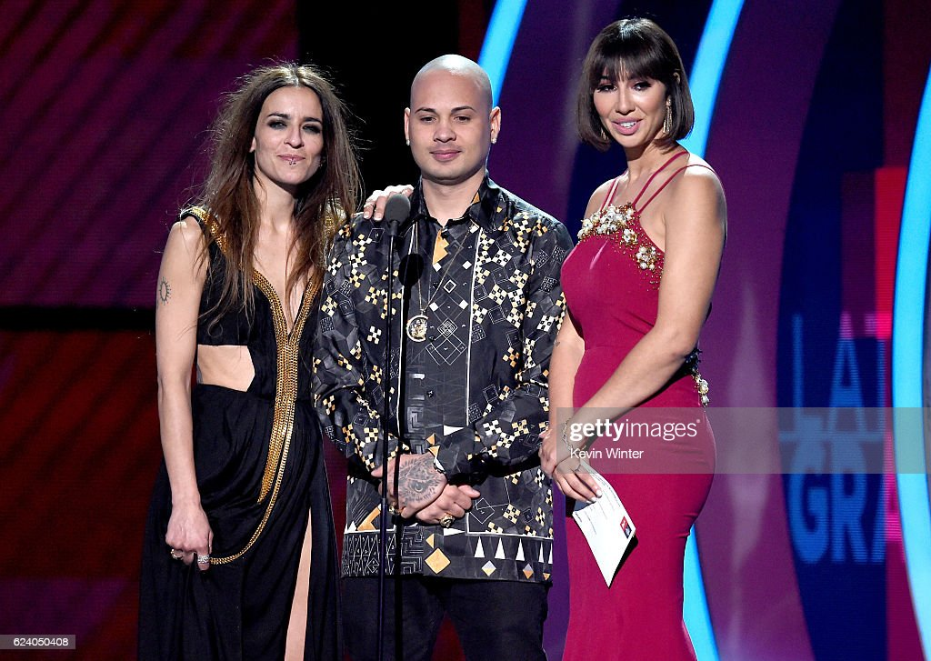 Singers Bebe and Jacob Forever and actress Jackie Cruz speak onstage during The 17th Annual Latin Grammy Awards at T-Mobile Arena on November 17, 2016 in Las Vegas, Nevada.