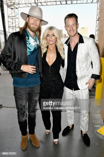 Singers Bebe Rexha and Brian Kelley and Tyler Hubbard of Florida Georgia Line attend the 2017 Billboard Music Awards at TMobile Arena on May 21 2017...